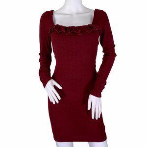 Angel Biba Sexy Red Bodycon Long Sleeve Dress 8